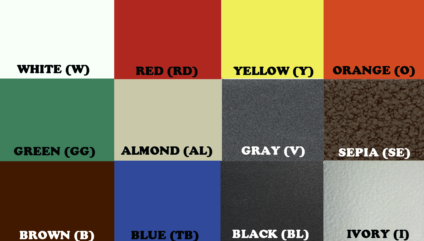 Manufacturer's Color Chart